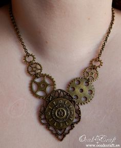 "Ooak☥Craft - 'Time gears' necklace > Collar ""Time gears"""