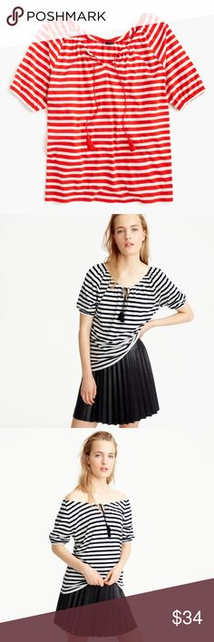 J. Crew striped top with tassels PRODUCT DETAILS This top can be worn on or off the shoulders for maximum versatility. Pair it with jeans and espadrilles for an outfit that's ready for any summer outing.  Pictures 2, 3 and 4 show the fit. 24.5 inches long  Cotton/linen. Three-quarter sleeves. Hand wash. Import. Item F3336. J. Crew Tops Blouses