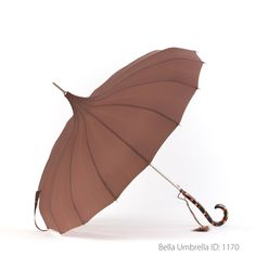 Umbrella ID 1170 | Brown Pagoda | Tortoise Shell Hook Handle | Bella Umbrella | Vintage Umbrella Rentals