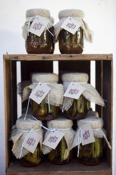 Wedding favours. Simple jars with burlap and twin. Fill with home cooked goodies, jam or a candle