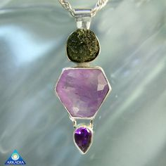 Moldavite & Amethyst Sterling Silver by ArkadianCollection on Etsy