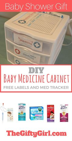A simple DIY gift for baby showers or new parents! This Baby Medicine cabinet includes a dry-erase medicine tracker and is stocked with all of the essentials for when baby is sick. Get all of the info and FREE printable labels and medicine tracker!