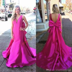 Big Bow Prom Dresses 2017 With V Neck And Open Back Real Photos Fuchsia African Mermaid Ring Dance Gowns Saudi Arabia Formal Evening Dress Long Dress Short Prom Dresses From Uniquebridalboutique, $107.64| Dhgate.Com