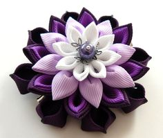 Kanzashi  fabric flower hair clip. Plum purple orchid and by JuLVa, $11.50
