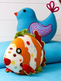 Fish and bird stuffed animals/pillows made from fleece, sewing pattern