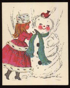 UNUSED Vintage SNOWMAN Girl Ermine Fur Hat Coat Glitter CHRISTMAS Greeting CARD
