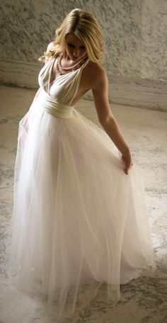 e1fae52f78f2 Bridesmaids dress with tulle skirt in off white color Tailored to Size &  Length Infinity Dress
