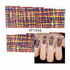 ZKO 1 Sheet Colorful Lattice Designs Nail Art Charm DIY Watermark Decals Nail Art Sticker NEW Polish Decor 1546