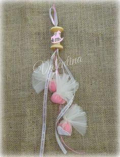 Κρεμαστή Ξύλινη Κουβαρίστρα διακοσμημένη με ροζ Αλογάκι, Κορδόνι και Κορδέλες με Ευχές!!!