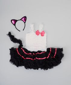Black & White Cat Tutu Dress-Up Set - Toddler & Girls for Halloween #zulily #zulilyfinds #Halloween