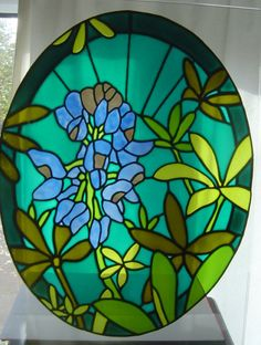 Bluebonnets - stained glass effect window painting / window cling / sun catcher -  38 x 29 cm (A3 size) - Rainbow Glass Craft