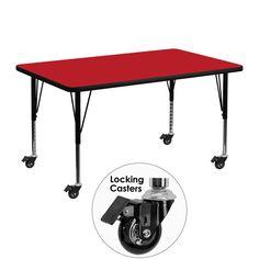 Red preschool activity table XU-A3048-REC-RED-H-P-CAS-GG