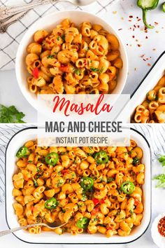Masala Mac n Cheese with a spicy kick from fresh jalapeños, ginger, garlic and garam masala with an EASY Instant Pot recipe that is ready in under 30 mins! Best Dinner Recipes, Spring Recipes, Brunch Recipes, Indian Food Recipes, Ethnic Recipes, Easy Chicken Recipes, Pasta Recipes, Salad Recipes, Curry Recipes