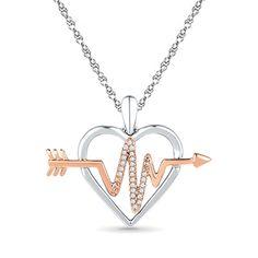 Created Diamond Accent Heartbeat in Heart Pendant in Sterling Silver #jewelsbyeanda #Heart