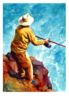 """Daily+Paintworks+-+""""Fishing+off+the+rocks.""""+-+Original+Fine+Art+for+Sale+-+©+Graham+Berry"""