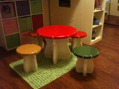 DIY Kids Mushroom Table and Toad Stools THIS WOULD BE SO CUTE OUTSIDE NEAR THEIR FAIRY GARDEN :)