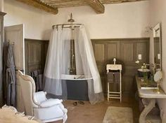 Restored Farmhouse in France | Inspiring Interiors. Id pick a clawfoot copper tub, but that's just me.