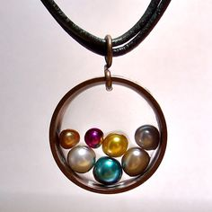 Recycled copper with pearls and resin