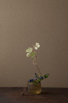 muhuhu: 沢をふさぐほど茂ることから。実の青が美しい。 花=沢蓋木(サワフタギ)、蝦蔓(エビヅル) 器=ローマングラス碗(ローマ時代) (via 一日一花 川瀬敏郎│とんぼの本)