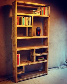 Reclaimed Wood Bookcases / Ideas and Inspiration - Handmade & Bespoke by OldManAndMagpie on Etsy Reclaimed Wood Bookcase, Rustic Bookcase, Reclaimed Wood Furniture, Pallet Furniture, Furniture Projects, Home Projects, Cool Furniture, Furniture Showroom, Ikea Furniture
