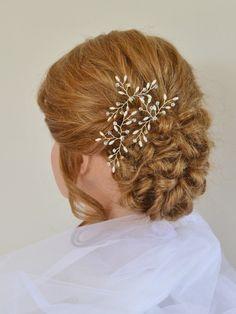 Wedding Hair Accessories, Bridal Hair Pins, Swarovski Crystal Rice Pearl Hair Pins,Bridal Hair Accessory, Set of 3