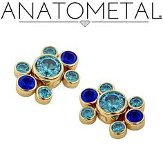 Anatometal Captive Gem Clusters, hand-set and guaranteed for life.