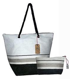 Striped Fashion Beach Bag Straw Look Tote w/ Zipper Top Combo & Matching Pouch (Black and White Stripe) Pier 17 http://www.amazon.com/dp/B00S9ZVRNW/ref=cm_sw_r_pi_dp_dhMyvb1P9Z5RB
