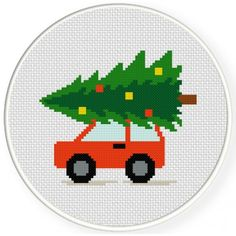 Tree In The Car Cross Stitch Illustration
