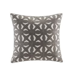 INK+IVY Nova Grey Cotton Embroidered Block Decorative Throw Pillow