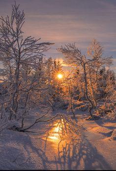Winter, Sonnenaufgang in Norwegen.