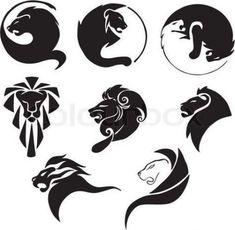 Illustration about Stylized black lions. Set of black and white vector illustrations. Illustration of vector, lion, emblem - 27633191 Lion Tattoo Design, Lion Design, Tattoo Designs Men, Trendy Tattoos, Small Tattoos, Tattoos For Guys, Leo Tattoos, Tribal Tattoos, Lion Tribal