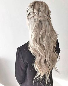 thick crown braid + waves | half up half down style | #promhair