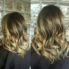 Balayage hair painting blonde brunette