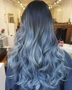 Black hair girls can also try this nice granny blue ombre balayage hairstyle
