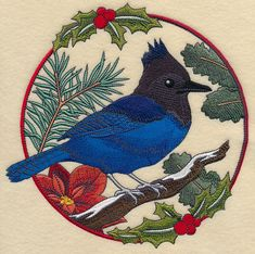 A Steller's jay perches in holiday greenery in a beautiful design for Christmas and winter pillow shams, wall hangings, quilts, and more. Yarn Crafts, Sewing Crafts, Machine Embroidery Designs, Embroidery Patterns, Family Christmas Stockings, Bird Applique, Crewel Embroidery, Bird Design, Crochet Yarn