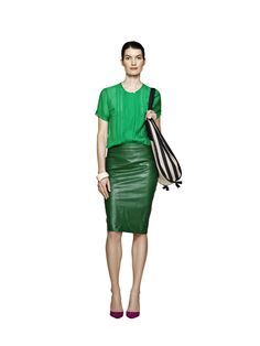 LOVE this green leather skirt and the bag too.  Malene Birger