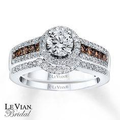 LeVian Chocolate Diamonds 1 1/5 ct tw Bridal Set 14K Gold