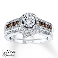 LeVian Chocolate Diamonds 1 1/5 ct tw Bridal Set 14K Gold