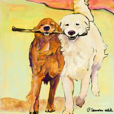 Stick With Me Painting - Stick With Me Fine Art Print Dog Art, dogs, golden retriever painting-- aww I want this!! It looks like zoey and Meeko :)