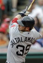 Jarrod Saltalamacchia, Catcher, Boston Red Sox. He may not be as good defensively as Carlton Fisk, but one of my favorite players ever. People can rag on him, but there aren't many catchers out there who can switch hit and give you 25 homers a year. This guy can.