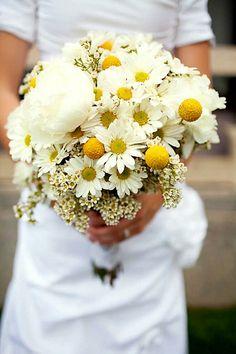 Beautiful Wedding Bouquet: White Peonies, White Wax Flower, White/Yellow Daisies (Chrysanthemums), Yellow Craspedia