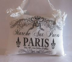 French Graphic Paris Pillow Hanging by HandmadeByBette on Etsy, $17.50