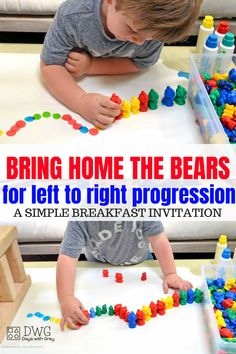 Left to right progression activity for children. Breakfast Invitation for fine motor grip, prewriting, color sorting, and fun! Use this in a small group or independent play for child-led learning. Fine Motor Activities For Kids, Morning Activities, Small Group Activities, Motor Skills Activities, Preschool Learning Activities, Toddler Learning, Toddler Preschool, Preschool Activities, Kids Motor