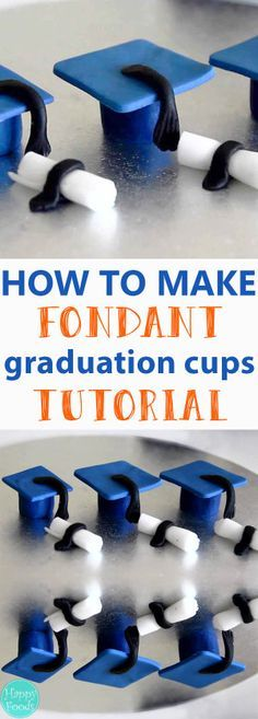 How to make Sugar Paste Fondant Graduation Caps & Diplomas - Cake Toppers, Cake Decorating, Tutorial, Sugarcraft, Sugarart, Fondant Icing | happyfoodstube.com