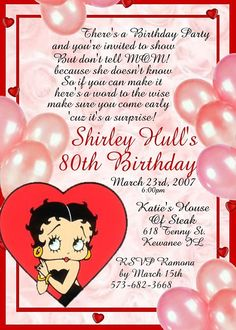 Betty Boop 12 Pack 3D Birthday Invitations