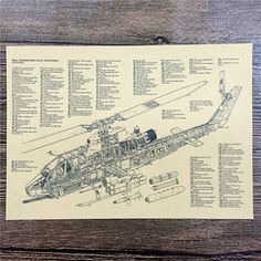 "FJ-254 ""Helicopter Exploded View"" Vintage Kraft Paper Wall Art Sticker Poster Vintage Pictures For House Cafe Bar 42x30 Cm 
