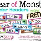 Just printed these !! So Cute !    A Year of Monsters Calendar Headers {French Version}