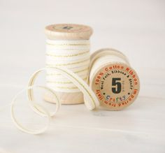 """Natural Cotton Ribbon with Gold - 5 Yards on a Wood Spool - Wedding Ribbon - 2/8"""" Thickness  - Color Natural with Gold"""