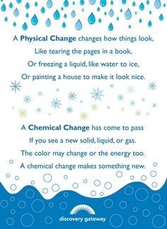 Physical and Chemical changes poster. I could have them memorize it for extra credit or make it into a song for another way to engage my students!
