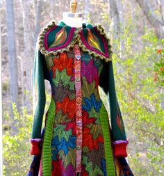 Reserved for Iona. Patchwork corset style SWEATER COAT with felted ...